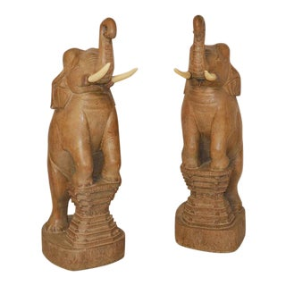 "Carved Wood Elephants from ""Auntie Mame"" with Rosalind Russell - A Pair"