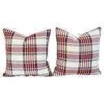 Image of Custom Red, White & Black Plaid Pillows - A Pair