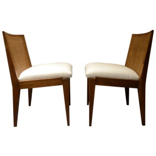 Edward Wormley Caned Back Linen Chairs - Pair