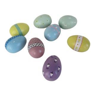 Hand Painted Wood Easter Eggs - Set of 8