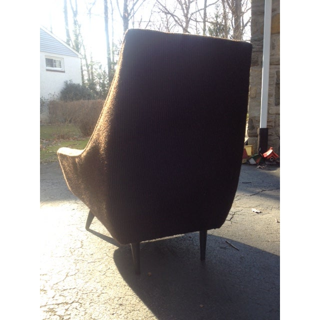 Mid-Century Modern Tufted Brown Club Chair - Image 8 of 9