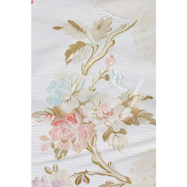Roll of 7 Yards Heavy Floral Embroidered Silk Brocade Satin Upholstery Fabric - Image 4 of 9