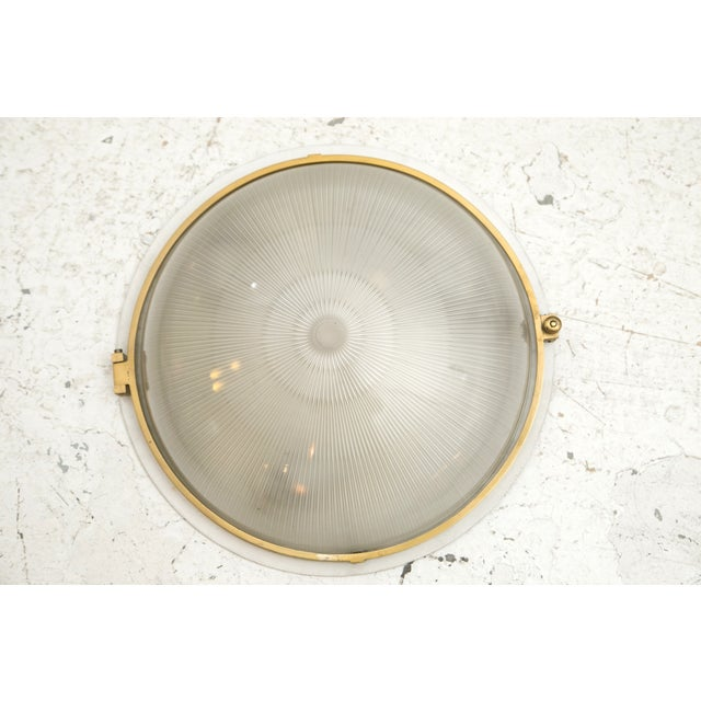 1930s French Brass & Glass Sconce Ceiling Light - Image 3 of 9