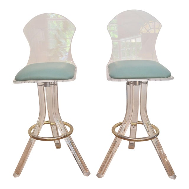 Vintage Lucite Swivel Bar Stools - a Pair - Image 1 of 6