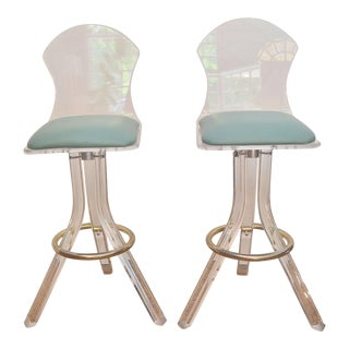 Vintage Lucite Swivel Bar Stools - a Pair