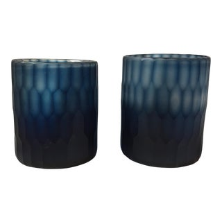 Zodax Ombré Hedgehog Cut Glass Vases - A Pair