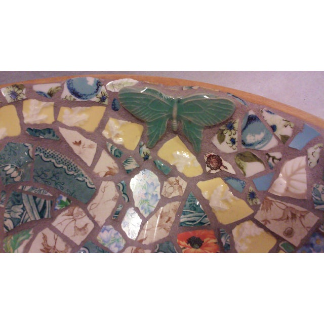 Hand Crafted Mosaic Footed Oval Bowl - Image 5 of 7