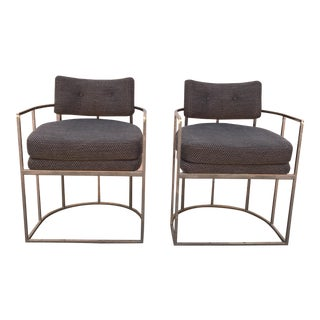 Milo Baughman Style Barrel Chairs- A Pair