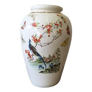 Large Vintage Vase With Peacock