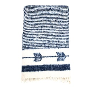 Navy & White Wool Blanket