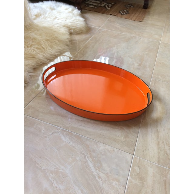 Orange Lacquer Oval Hermès Inspired Serving Tray - Image 4 of 11
