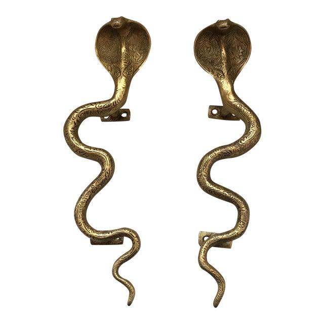 Gold Brass Cobra Door Handles- a Pair - Image 1 of 11