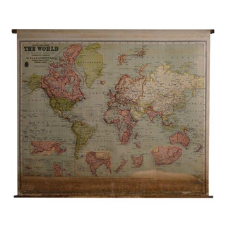 Map of the World, 1905, on Retractable Wooden Roller