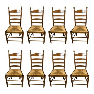 Antique French Rush Seat Chair - Set of 8