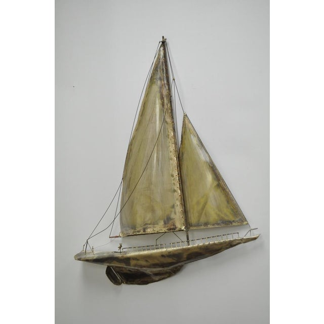 Vintage RaMan Brutalist Mid Century Modern Clipper Ship Wall Sculpture Jere Style - Image 2 of 11