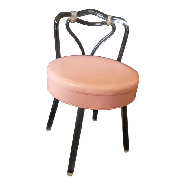 Reflectone vanity stool lucite legs back w pink seat chairish - Vanity stool with back ...