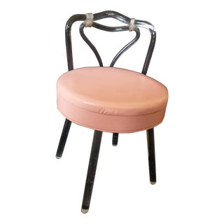 Reflectone Pink Lucite Swivel Boudoir Vanity Stool