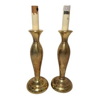 Vintage Stiffel Brass Candlestick Lamps - A Pair