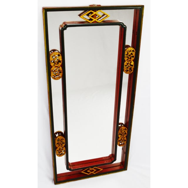 Vintage Chinese Red & Gold Accented Mirror - Image 3 of 10