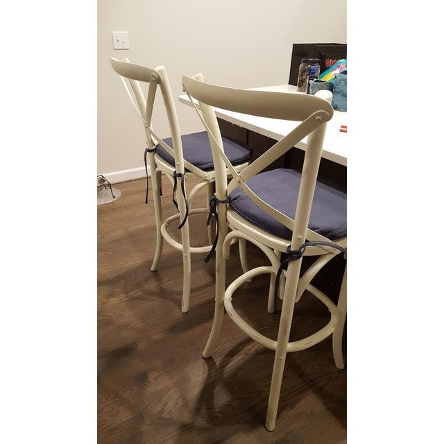 Distressed White Bar Stools - Set of 2 - Image 4 of 7