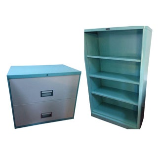 Turquoise Metal Bookcase Restored by Steel Casey