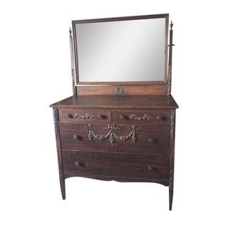 Sligh Antique Hand Carved Dresser Mirror Set