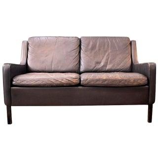 Danish Brown Leather Loveseat