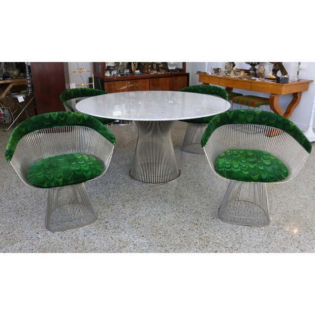 Warren Platner for Knoll Marble Table, Four Chairs, Jack Lenor Larsen Fabric - Image 2 of 10