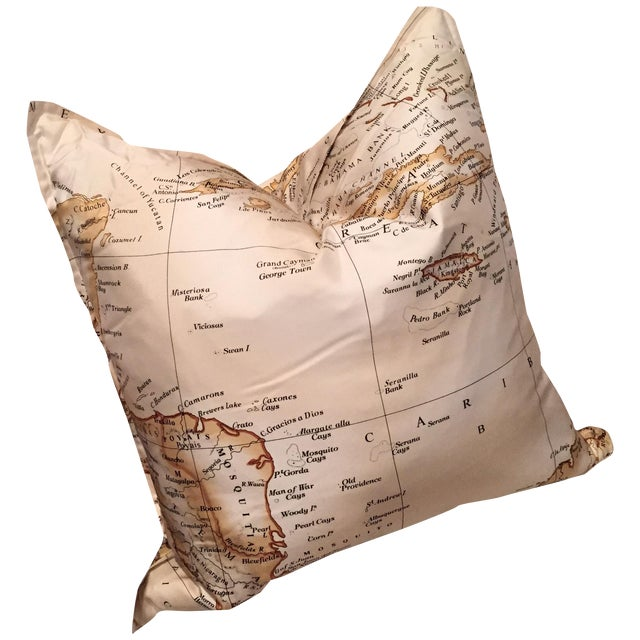 Williams-Sonoma Silk Map Pillow Cover - Image 1 of 5