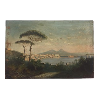 Antique Pompeii Oil Painting On Canvas