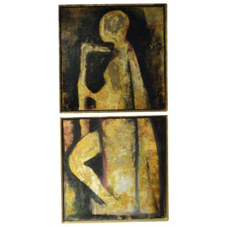 Modern Style Diptych Mixed Media Painting