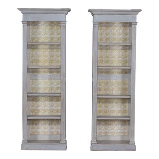 Pair of Vintage Neoclassical French Louis XVI Painted Display Cabinets Bibliothéques
