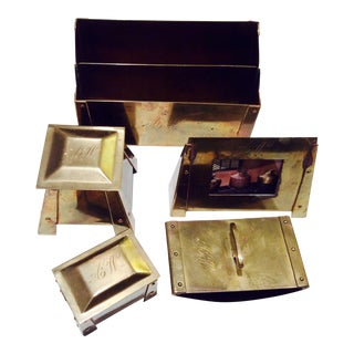 Arts & Crafts Style Brass Desk Set - 5 Pieces