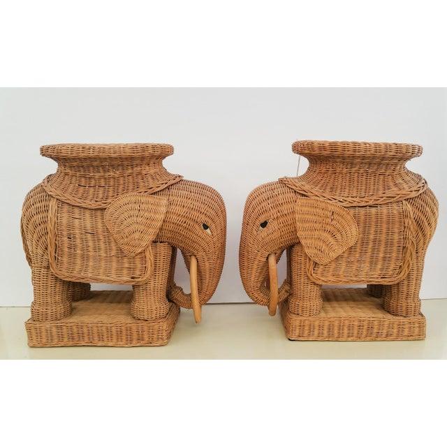 Hollywood Regency Wicker Elephant - A Pair - Image 3 of 6