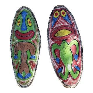 Paul Frankle Style Patio Tiki Paintings - a Pair
