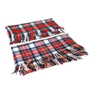 Vintage Plaid Wool Blanket Throws - A Pair