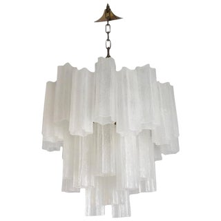 Rare Frosted Tronchi Tube Chandelier, Italy, circa 1970s