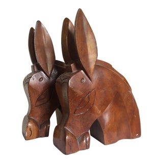 Carved Wooden Horse Heads - A Pair