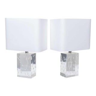 Pair of Rare Thick and Lucite Block with Raindrop Lamps