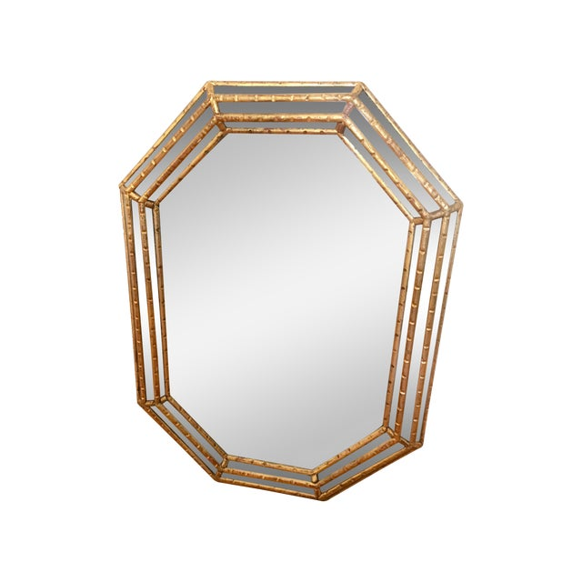 Hollywood Regency Faux Bamboo Gold Mirror - Image 1 of 11
