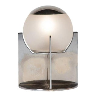 Spherical Glass and Nickel Desk Lamp by Boris Lacroix, French, circa 1930