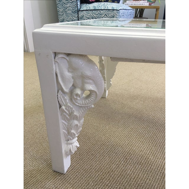 Image of Vintage White Lacquer Elephant Coffee Table