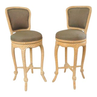 Italian Carved Wood Rope & Tassel Swivel Bar Stools Chairs Barstools - a Pair
