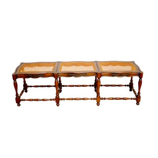 French Provincial Carved Cane Bench Seat
