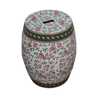 Vintage Floral Pattern Pottery Garden Seat