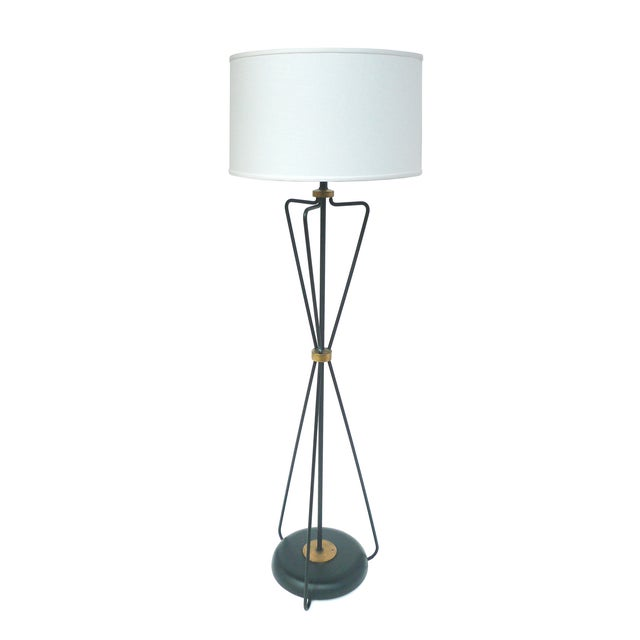 Image of Jacques Adnet-Style Black & Brass Floor Lamp
