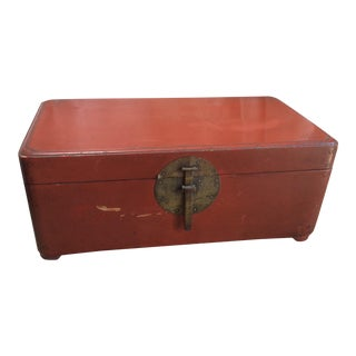Antique Asian Red Lacquered Trunk