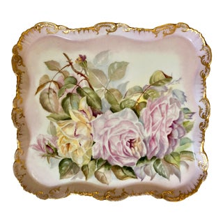 Antique Square Hand Painted Rose Plate