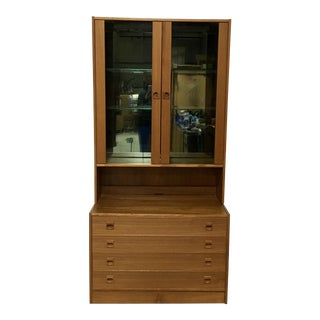 Danish Modern Light-Up Curio Cabinet