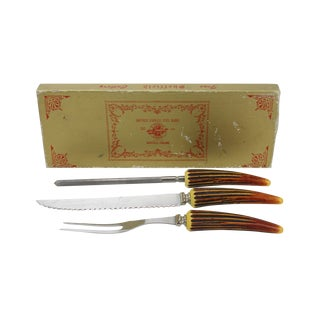 Sheffield Bakelite Horn-Handled Carving Set of 3